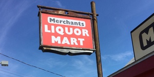 Outside of Merchants Liquor Mart